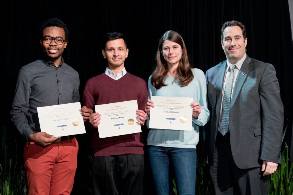 "<span style=""font-size: 12px;"">Ingenious Writers Contest awards were given during the Gala de la reconnaissance de l'ÉTS (left to right) : Ted Julien Tchinde Fotsin (1st place), Smarjeet Sharma (2nd place), Marion Ghibaudo (3rd place), Sylvain G. Cloutier (Doyen des affaires professorales, de la recherche et des partenariats).</span>"